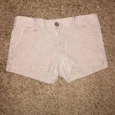 Brown and white striped shorts. Brown and white striped shorts. Great for the summer and spring. Forever 21 Shorts