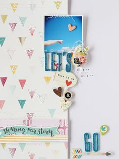 LAYOUT - LET'S GO This patterned paper is so interesting! Travel Scrapbook, Scrapbook Paper Crafts, Scrapbook Cards, Scrapbook Sketches, Scrapbooking Layouts, Mini Albums, Origami, Crafty Craft, Crafting