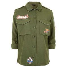 Topshop Tall Badge Detailed Shacket (580 EGP) ❤ liked on Polyvore featuring jackets, shirts, tops and shirt jacket