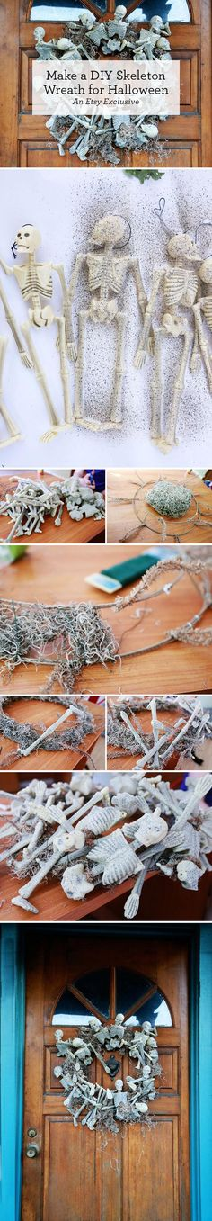 A ghoulish (but not garish) Halloween wreath is within reach. Just grab some Spanish moss, textured spray paint, and a few plastic skeletons, and try your hand at this easy #DIY tutorial on the Etsy Blog.
