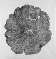 Woodcut print from a found tree stump by Bryan Nash Gil