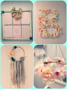 DIY, shabby chic on a budget, baby girls nursery, embroidery hoop mobile, old window, flowers, soft and dainty, dollar tree, cardboard letter