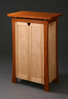 Entertainment center cabinet, mahogany , curly maple and hard maple - CLICK TO ENLARGE