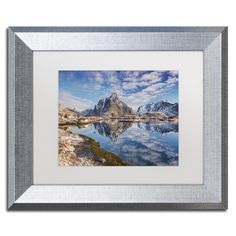 "Trademark Art ""Mirror in the Fjord"" by Michael Blanchette Framed Photographic Print Size: 11"" H x 14"" W x 0.5"" D"