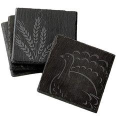 Harvest Etched Slate Coasters $15