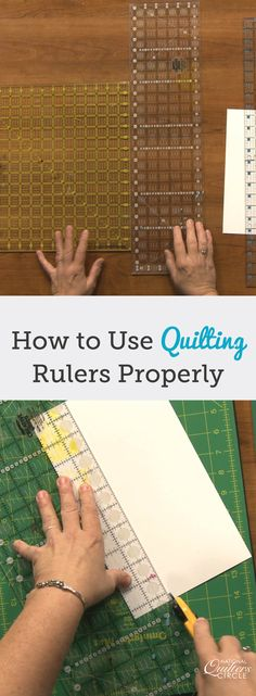 Selecting the right quilting ruler depending on what you are making can help save you time and money. Once you figure out what type of quilting ruler you are most comfortable using you will find that you can do most of your cuts with just that one ruler. Quilting 101, Quilting Templates, Quilting Rulers, Quilting Tools, Quilting For Beginners, Quilting Tutorials, Machine Quilting, Quilting Projects, Patchwork Quilting