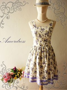 "Amor Vintage Inspired ""Call Me Maybe"" Floral Love The Purple Paradise Vintage Retro Dress"