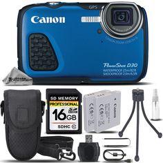 Canon PowerShot D30 12.1MP Waterproof Underwater Digital Camera Blue-16GB Bundle…