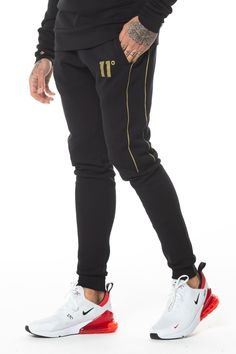 VOI Mens Pillar Joggers Fleece Jogging Bottoms Trousers Pants Drawstring