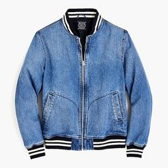 Men's Baseball Jacket In Japanese Denim - Men's Outerwear Men's Coats And Jackets, Denim Jackets, Stylish Coat, Jeans, Baseball Pants, Japanese Denim, Crew Clothing, Lightweight Jacket, Mens Suits