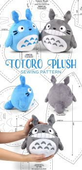Sewing Stuffed Animals Totoro Plush Sewing Pattern by SewDesuNe - Totoro, Sewing Stuffed Animals, Stuffed Animal Patterns, Sewing Toys, Sewing Crafts, Sewing Hacks, Plushie Patterns, Softie Pattern, Sewing Projects For Kids