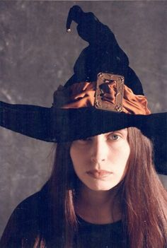 Handmade Couture Witch Hat Black Velvet Orange Silk Vintage Art Nouveau Buckle