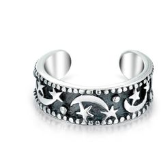 Bling Jewelry To The Moon Ear Cuff ($16) ❤ liked on Polyvore featuring jewelry, earrings, rings, ear cuff, accessories, ear-cuffs, grey, sterling silver earrings, gray earrings and sterling silver star earrings
