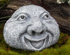 Your place to buy and sell all things handmade Whimsical Garden Rock Statue - Pet Rock Statue-Rock G Concrete Art, Concrete Garden, Garden Spheres, Garden Statues, Garden Sculptures, Cement Crafts, Pet Rocks, Floral Wall Art, Stone Art