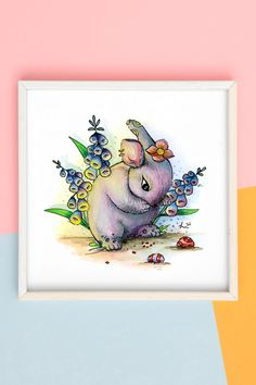 Original art, watercolor painting, hand painted, illustration, surrealism, Easter, perfect gift, animal art, fantasy, whimsical, colorful, home decor, floral Watercolor Paintings Of Animals, Watercolor Painting Techniques, Watercolor Artwork, Ink Painting, Animal Paintings, Watercolor Print, Watercolor Illustration, Cute Easter Bunny, Simple Illustration