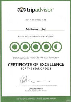 Tripadvisor Certificate of Excellence 2013