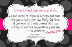 Thirty-One Havent Heard from You Postcard/- DIY Printable by Simply Sprinkled via Etsy