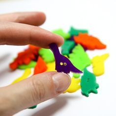 Birthday Dinos Buttons - Closeup