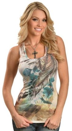Panhandle Slim Rhinestone Feather Lace Back Tank Top available at #Sheplers