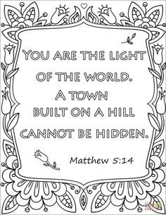 A Town Built On Hill Cannot Be Hidden Coloring Page From Bible Verse Category Select 29957 Printable Crafts Of Cartoons Nature Animals