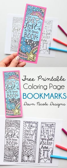 Free Printable Coloring Page Bookmarks | bydawnnicole.com