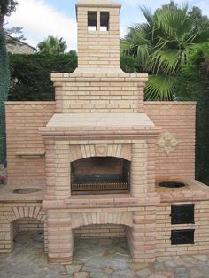 Ideas For Kitchen Outdoor Grill Barbecue Backyard Bbq Pit, Backyard Shade, Backyard Layout, Backyard Seating, Parrilla Exterior, Pierre Decorative, Brick Bbq, Four A Pizza, Outdoor Oven