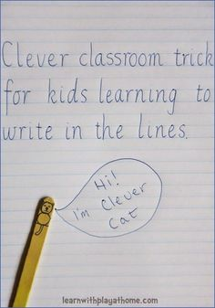 Clever classroom trick for kids learning to write in the lines. Learn with Play at Home: Clever classroom trick for kids learning to write in the lines. 1st Grade Writing, Kindergarten Writing, Teaching Writing, Writing Skills, Teaching Resources, Writing Process, Writing Workshop, Letter Writing, Teaching Handwriting