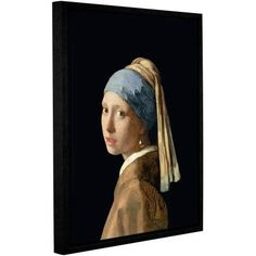 Johannes Vermeer Girl With A Pearl Earring Floater-Framed Gallery-Wrapped Canvas, Size: 36 x 44, Blue