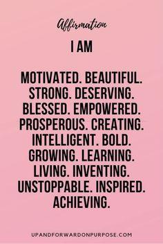 Positive Self Affirmations, Positive Affirmations Quotes, Affirmation Quotes, Affirmations For Women, Wealth Affirmations, Morning Affirmations, Postive Quotes, Self Love Quotes, Great Quotes