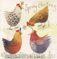 Spring Chickens greeting card by Alex Clark - love these watercolor hens with flowers! Watercolor Animals, Watercolor Cards, Watercolor Paintings, Watercolour, Chicken Drawing, Chicken Painting, Chicken Crafts, Chicken Art, Chicken Illustration