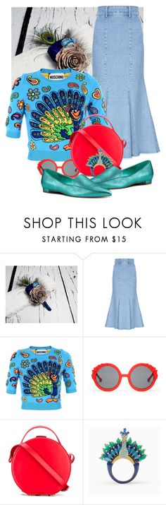 """Pretty peacock @polyvore #teal #peacock"" by debbie-ann-christiano ❤ liked on Polyvore featuring Sola, FLOW the Label, Moschino, Preen, Nico Giani, Kate Spade and Nine West"