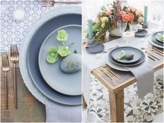 La Tavola Fine Linen Rental: Ballard Indigo Table Runner with Tuscany Silver Napkins | Photography: Molly & Co., Coordination & Styling: Hive Events SB, Floral Design: Cocorose Designs, Tabletop Rentals: Casa de Perrin