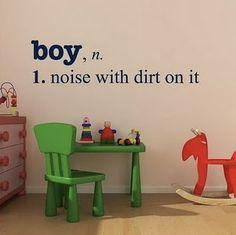 Boy definition wall decal.  it's funny cuz it's true.