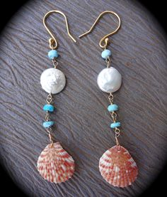 Shell Earrings <3  http://www.etsy.com/shop/codyryanjewelry
