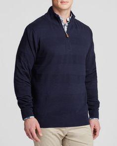 Brooks Brothers Textured Tonal Stripe Quarter Zip Sweater
