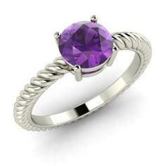 Round Amethyst  Solitaire Ring in 14k White Gold