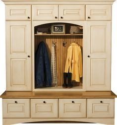 """Boot Bench WIth Lockers Shown With """"Nob Hill"""" Door Style in Maple With Antique White/Espresso Glaze Finish."""