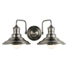 Allen + Roth Hainsbrook 2-Light 7-In Antique Pewter Cone Vanity Light B10071