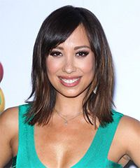 Cheryl Burke Hairstyle - Casual Medium Straight-Simple and low-fuss is the main idea for this hairdo. This look is blow-waved smooth showing off the blunt cut ends while the bangs are smoothed over to the side to soften the face and completes the over-all look perfectly. This casual hairstyle is best suited for those fine to medium hair.