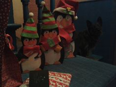 three wise penguins 2014...and one worried dog...
