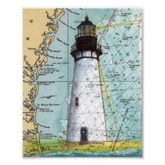 amelia island lighthouse florida map art poster