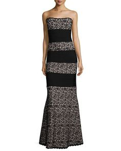 Strapless Striped Lace Gown, Black/Combo  by Herve Leger at Bergdorf Goodman.