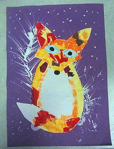Adaptive art: fox in the snow animal art projects, winter art projects Animal Art Projects, Winter Art Projects, Fox Crafts, Animal Crafts, Special Needs Art, Fox In Snow, Classe D'art, 3rd Grade Art, Grade 1