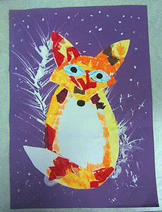 Fox in the Snow. Lesson especially designed for students with special needs. First blow white paint through straws to create snowy trees. Then attach tissue paper pieces to with pre-cut fox heads, bodies and tails. Add a little orange paint. When dry, add eyes and noses. The idea could be applied to creating owls, raccoons, opossum, and other woodland creatures.