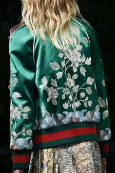 @roressclothes closet ideas #women fashion outfit #clothing style apparel Gucci Spring 2016 Silk Bomber Jacket