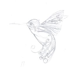 Hummingbird Art Nouveau. FOR MY GRANDMA. SHE LOVED HUMMINGBIRDS