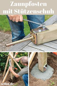 Zaunpfosten einbetonieren – Vorgarten ideen Concrete fence posts in concrete Adjust the support shoe to the size of the beam. Insert beams Mark holes for screwing Pre-drill sounds easy, too! Embed the post fence post Backyard Fences, Backyard Projects, Backyard Landscaping, Concrete Fence Posts, Concrete Garden, Outdoor Pergola, Pergola Plans, Fence Design, Shed Plans