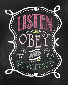 Listen Obey & Be Blessed Wall Print. by JellyfishPrintables