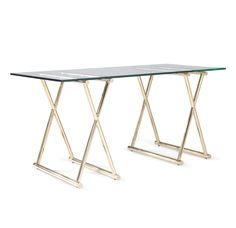 """MG+BW: """"Xavier"""" desk. Available in polished brass and polished stainless steel."""