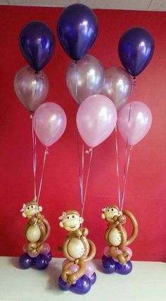 Baby shower balloon decoration - precious, those little monkeys! Baby Shower Balloon Decorations, Balloon Centerpieces, Baby Shower Balloons, Baby Shower Centerpieces, Baby Shower Themes, Love Balloon, Balloon Bouquet, Little Monkeys, Birthday Parties